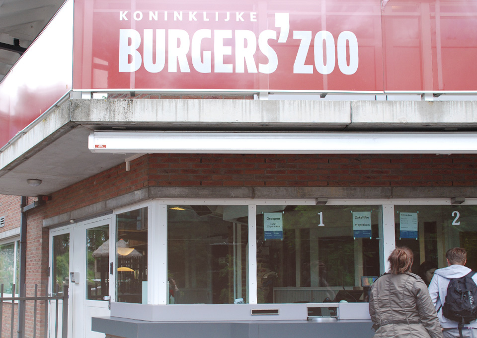 Der Kassenschalter am Burger's Zoo in Arnhem