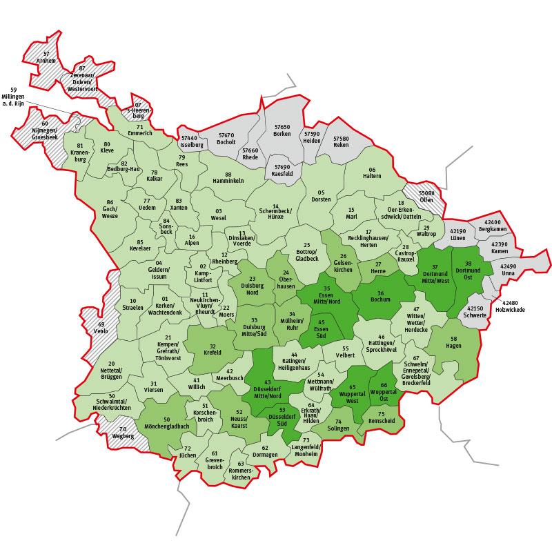 Tarifgebietskarte des VRR, mit Klicken Tarifgebiet(e ...